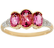 Pink Tourmaline & Diamond 3-Stone Ring 14K Gold 1.50 cttw - J326337