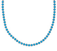 Sleeping Beauty Turquoise Sterling 20 Diamond Cut Tennis Necklace - J326937
