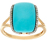 Elongated Cushion Sleeping Beauty Turquoise Ring 14K Gold - J329537