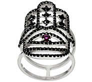 Luv Tia Sterling Ruby & Black Spinel Hamsa Ring - J330237