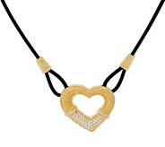 Judith Ripka 14K Clad Pave Diamonique Heart Leather Necklace - J331037