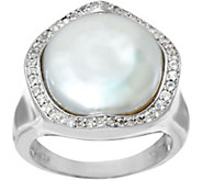 Honora Cultured Pearl 13.5mm Baroque & White Topaz Sterling Ring - J332037