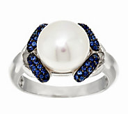 As Is Honora Cultured Pearl 9.5mm & 0.20ct tw Sapphire Sterling Ring - J332737