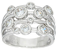 Diamonique Scatter Design Bezel Set Band Ring, Sterling - J332937