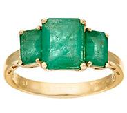 As Is Emerald Cut Zambian Emerald 3-Stone Ring, 14k, 2.50 cttw - J334537
