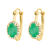 1.50 ct tw Oval Emerald w/ Halo Hoop Earrings,14K - J336337