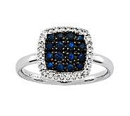 Gemstone & 1/8cttw Diamond Cushion Ring, 14K White Gold - J336637
