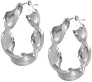 Arte dOro 1-1/2 Satin & Polished Twist Hoop Earrings, 18K - J337037