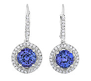 2.25cttw Tanzanite Halo Lever Back Earrings, Sterling - J338637
