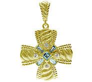 Judith Ripka Sterling/14K Clad Swiss Blue Topaz Cross Enhancer - J339037