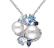 Sterling Blue Multi-Gemstone & Cultured Pearl Cluster Pendant - J339837