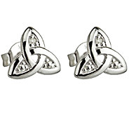 Solvar 14K White Gold & Diamond Trinity Knot Stud Earrings - J340737