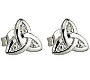 Solvar 14K White Gold & Diamond Trinity Knot Stud Earrings - J340737