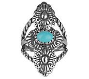 Sterling Turquoise Concha-Design Ring by American West - J343337