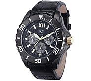 V19.69 Italia Mens Black Watch w/ Leather Strap - J343937