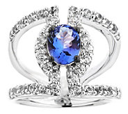 Sterling 3.00 cttw Tanzanite & White Zircon Ring - J344237