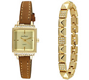 Peugeot Womens Goldtone Square Watch & Bracelet Gift Set - J344637