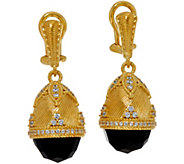 Judith Ripka Sterling & 14K Clad Faceted Onyx Egg Drop Earrings - J346937