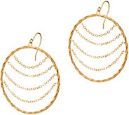14K Gold Chain and Textured Circle Drop Earrings - J347437