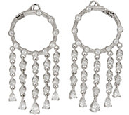Judith Ripka Sterling Silver 4.15 cttw Diamonique Drop Hoop Earrings - J347837