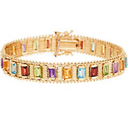 Imperial Gold 7-1/4 Multi-Gemstone Lame Bracelet, 14K, 26.00g - J349337