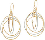 Italian Gold Textured & Polished Multi-circle Earrings 14K - J349437