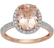 Oval Morganite & Pave Diamond Ring, 1.80 cts 14K Gold - J349737
