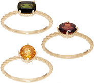 Judith Ripka 14K Garnet, Citrine & Green Tourmaline Ring Set - J352437