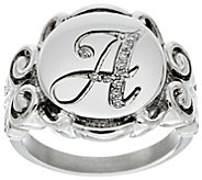 As Is Stainless Steel Crystal Signet Initial Ring - J352837