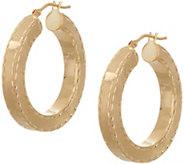 As Is Arte dOro Diamond Cut Round Hoop Earrings 18K Gold - J355837