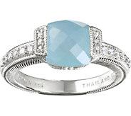 Judith Ripka Sterling Milky Aquamarine & Diamonique Ring - J376537