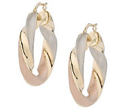 Arte dOro Tri-Color Twisted Hoop Earrings, 18K - J110238