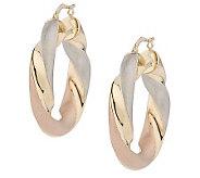 Arte dOro Tri-Color Twisted Hoop Earrings, 18K - J110238