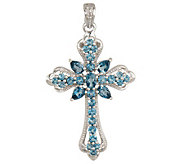 Sterling 4.00 ct tw London Blue Topaz Cross Enhancer - J140438