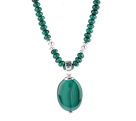 "Sterling Malachite Station 17"" Necklace with Pendant"