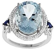 Premier 6.25 cts Aquamarine & Blue Sapphire Ring, 14K Gold - J288538