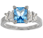 Judith Ripka Sterling 2.3ct Swiss Blue Topaz & 7/10ct Diamonique Ring - J288838