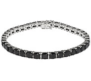 19.00 ct tw Black Spinel Cushion Cut 8 Sterling Tennis Bracelet - J288938