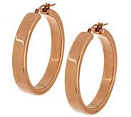 As Is Oro Nuovo 1-1/2 Square Tube Design Hoop Earrings, 14K - J290638