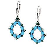 Graziela Gems Sleeping Beauty Turquoise & Emerald Sterl. Drop Earrings - J295338