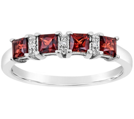 Sterling 4-Stone Princess-Cut Gemstone Band Ring