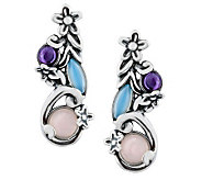 Carolyn Pollack Sterling Silver Floral Pastel D rop Earrings - J312238
