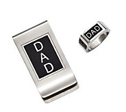 Forza Mens Stainless Steel Black DAD Money Clip & Ring Set - J313838