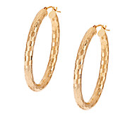 VicenzaGold 1-1/2 Shimmer Mirror Oval Hoop Earrings, 14K - J319638
