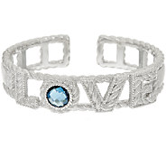 Judith Ripka Sterling London Blue Topaz 2.70ct Love Cuff Bracelet - J320138