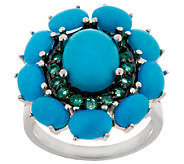 As Is Graziela Gems Sleeping Beauty Turquoise & Emerald Ring - J320238