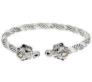 JAI Sterling & 14K Double Head Elephant Cuff Bracelet - J323038