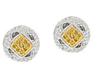 Rope Border Color Diamond Stud Earrings, Sterling, by Affinity - J324538