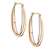 As Is Polished Tri- Color Triple Row Oval 14K Hoop Earrings - J326438