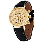 As Is Italian Multi-Function Chronograph Dial Leather Watch, 14K - J327838